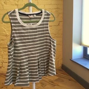 Striped Sleeveless Peplum Shirt